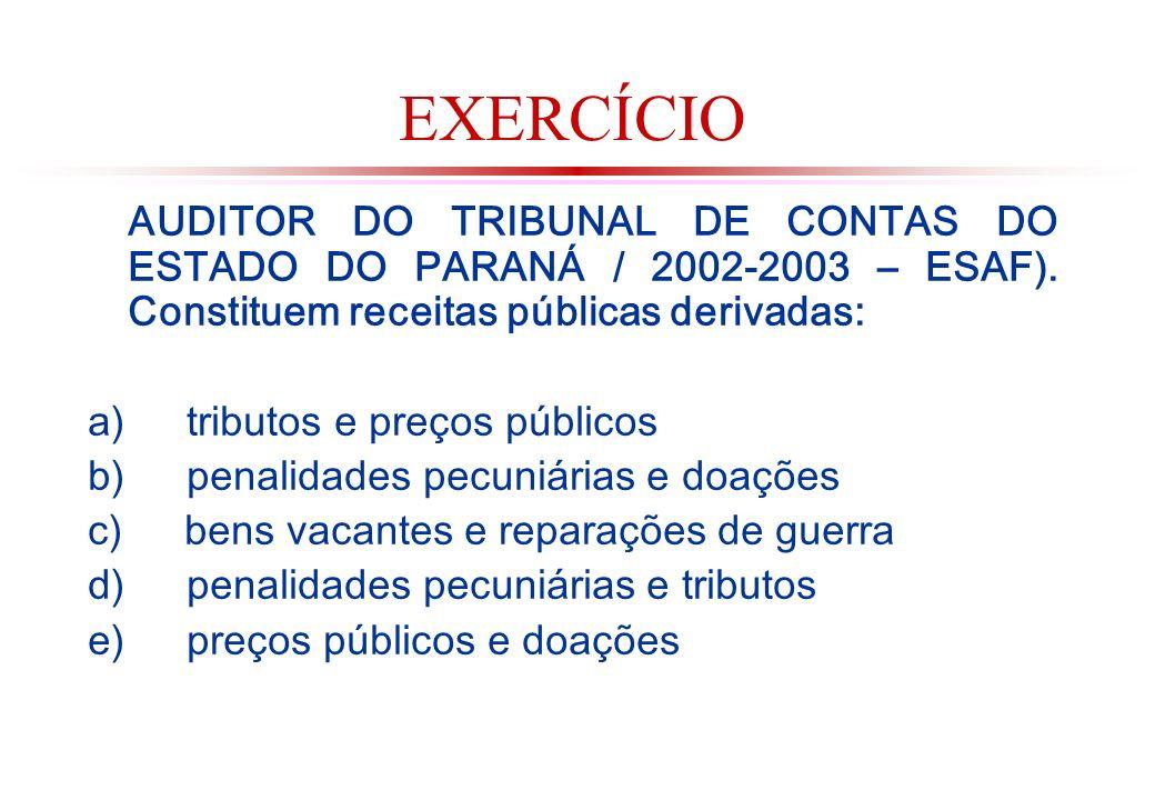 EXERCÍCIO AUDITOR DO TRIBUNAL DE CONTAS DO ESTADO DO PARANÁ / 2002-2003 – ESAF). Constituem receitas públicas derivadas: