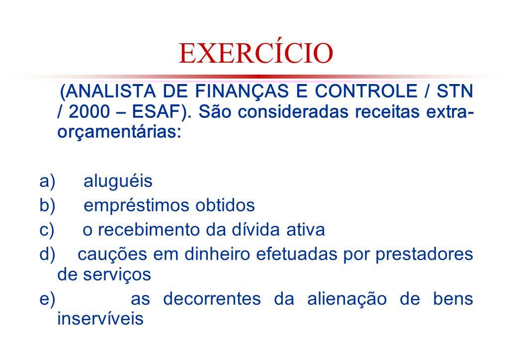 EXERCÍCIO (ANALISTA DE FINANÇAS E CONTROLE / STN / 2000 – ESAF). São consideradas receitas extra-orçamentárias: