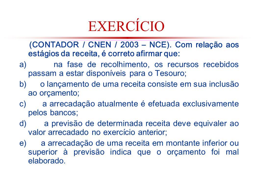EXERCÍCIO (CONTADOR / CNEN / 2003 – NCE). Com relação aos estágios da receita, é correto afirmar que: