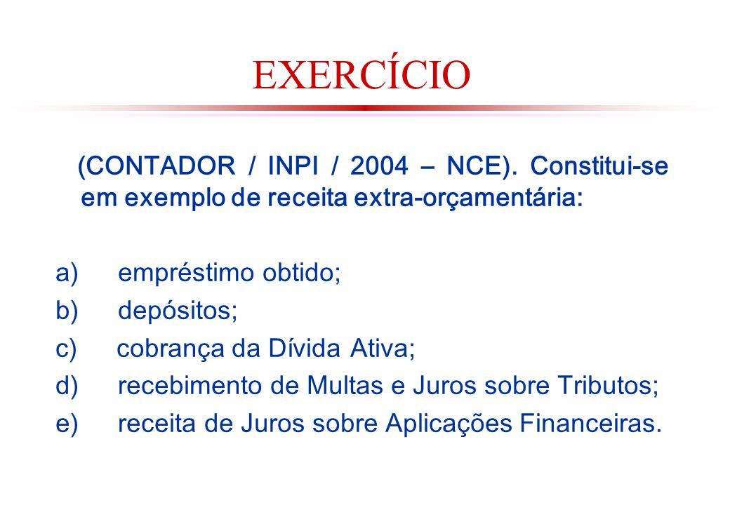 EXERCÍCIO (CONTADOR / INPI / 2004 – NCE). Constitui-se em exemplo de receita extra-orçamentária: