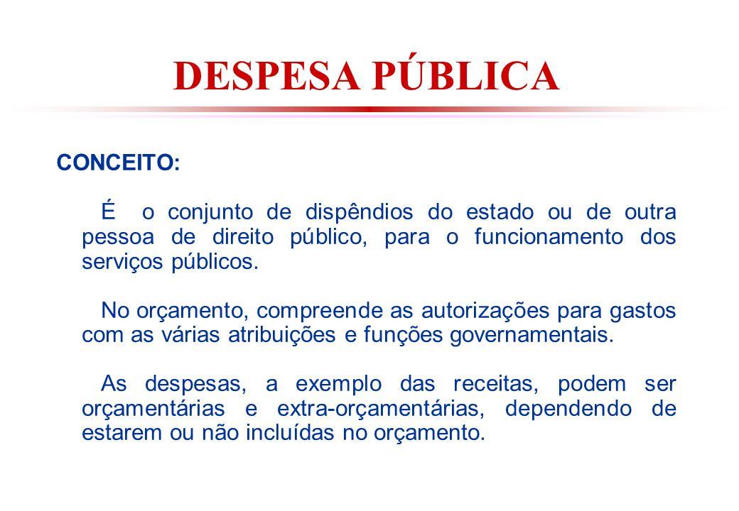 DESPESA PÚBLICA CONCEITO: