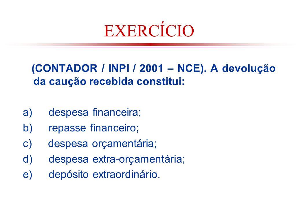 EXERCÍCIO (CONTADOR / INPI / 2001 – NCE). A devolução da caução recebida constitui: a) despesa financeira;