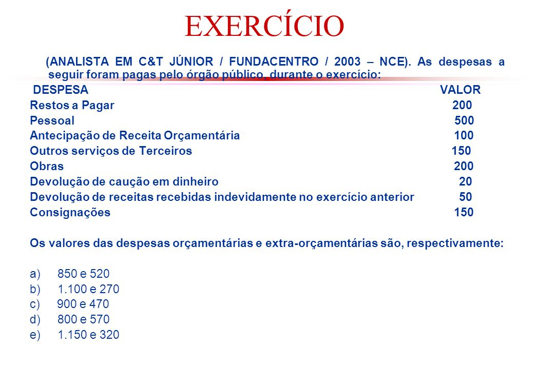 EXERCÍCIO (ANALISTA EM C&T JÚNIOR / FUNDACENTRO / 2003 – NCE). As despesas a seguir foram pagas pelo órgão público, durante o exercício: