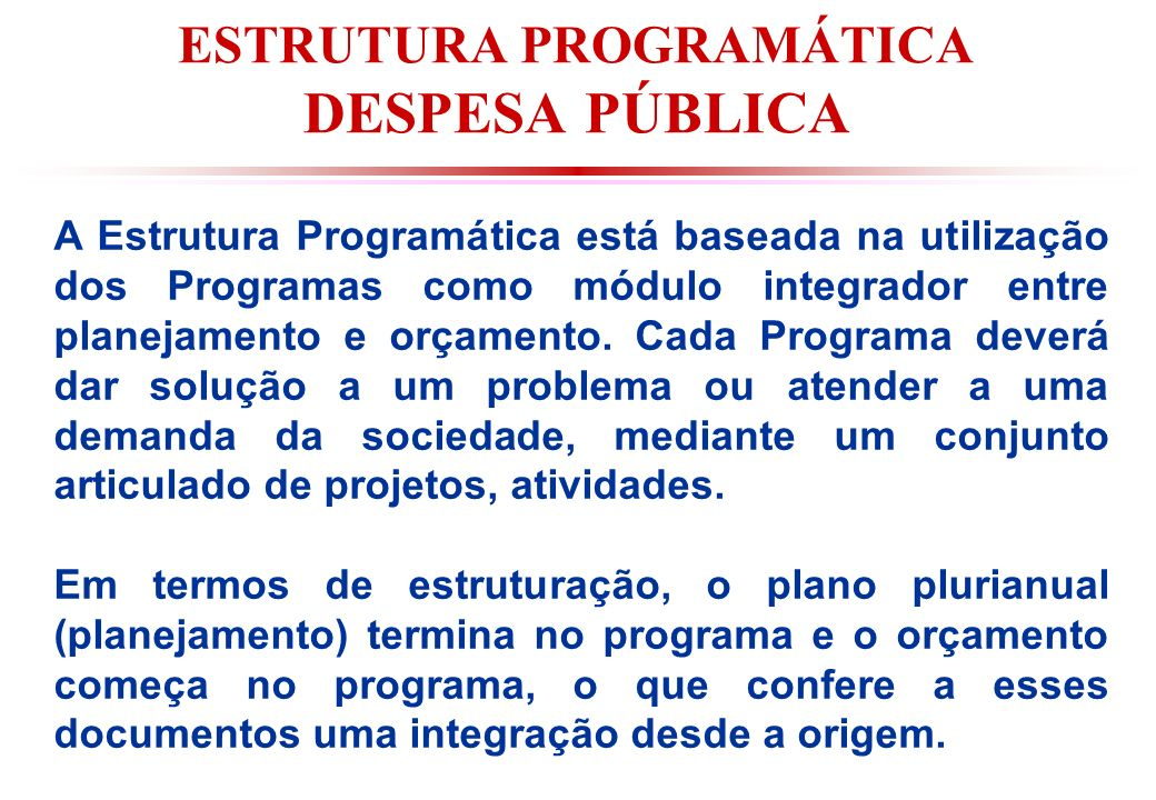 ESTRUTURA PROGRAMÁTICA DESPESA PÚBLICA