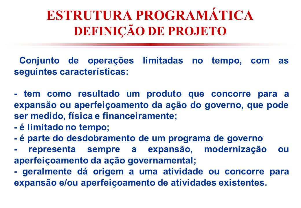 ESTRUTURA PROGRAMÁTICA DEFINIÇÃO DE PROJETO