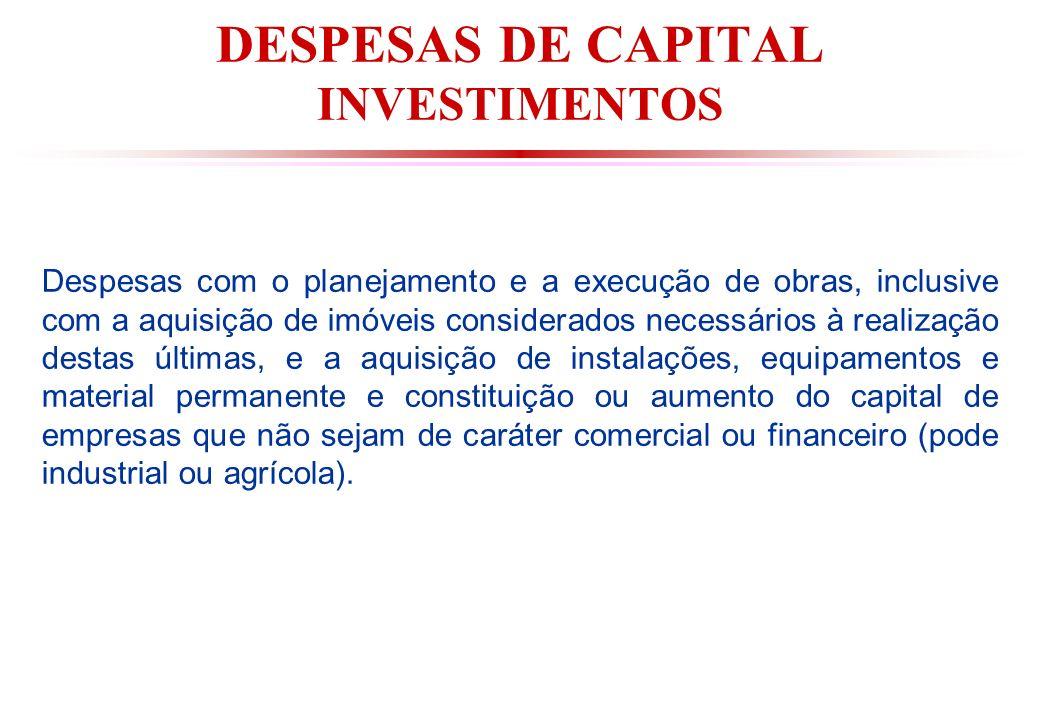 DESPESAS DE CAPITAL INVESTIMENTOS