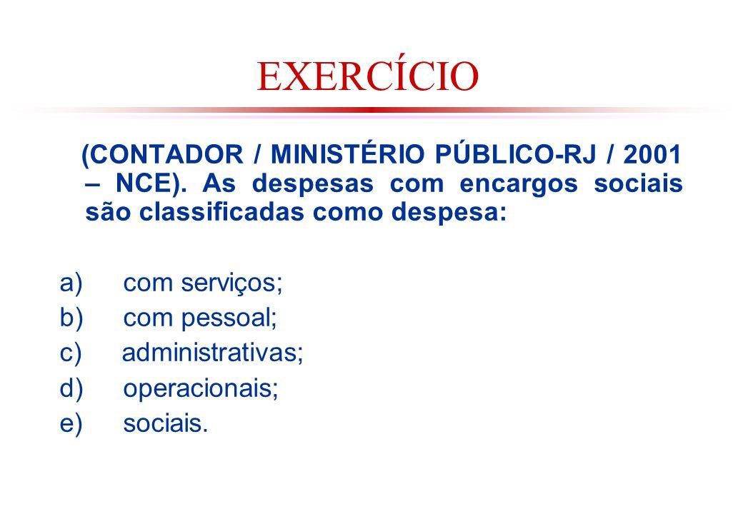 EXERCÍCIO (CONTADOR / MINISTÉRIO PÚBLICO-RJ / 2001 – NCE). As despesas com encargos sociais são classificadas como despesa: