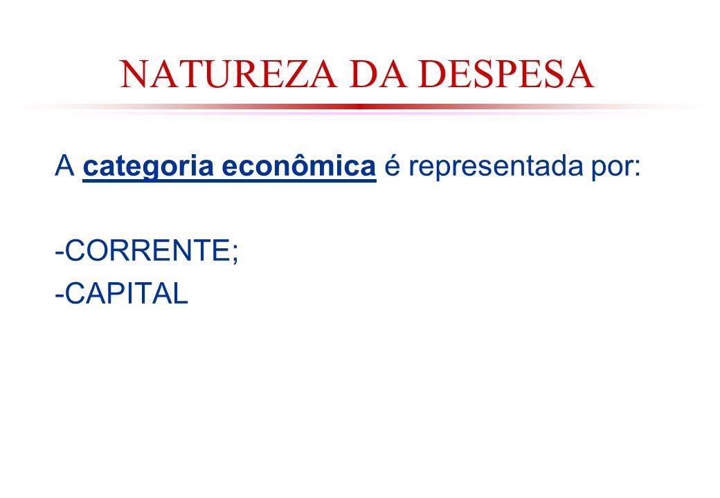 NATUREZA DA DESPESA A categoria econômica é representada por: