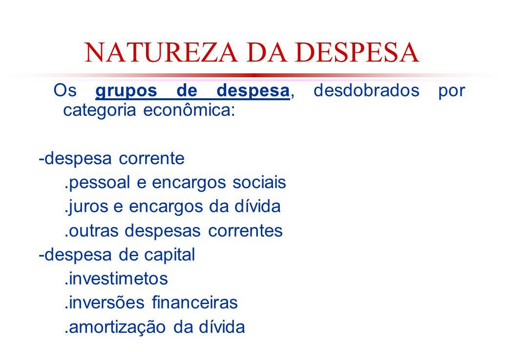 NATUREZA DA DESPESA Os grupos de despesa, desdobrados por categoria econômica: -despesa corrente. .pessoal e encargos sociais.