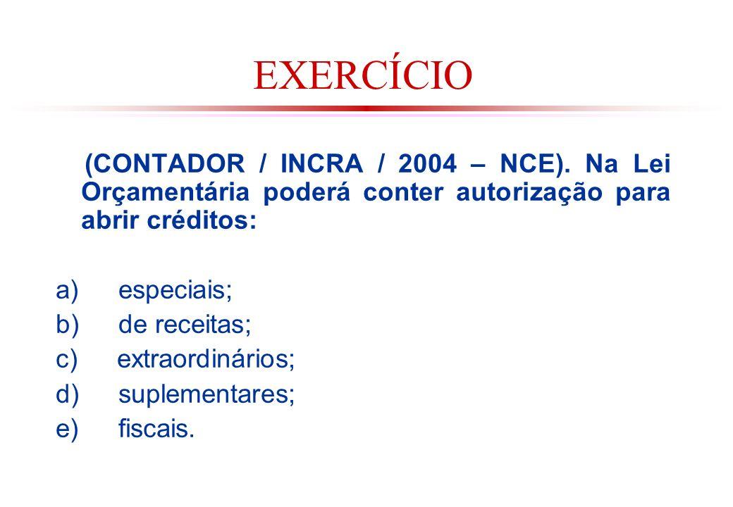 EXERCÍCIO (CONTADOR / INCRA / 2004 – NCE). Na Lei Orçamentária poderá conter autorização para abrir créditos: