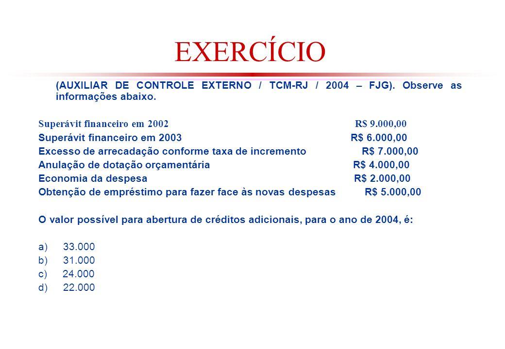 EXERCÍCIO (AUXILIAR DE CONTROLE EXTERNO / TCM-RJ / 2004 – FJG). Observe as informações abaixo.