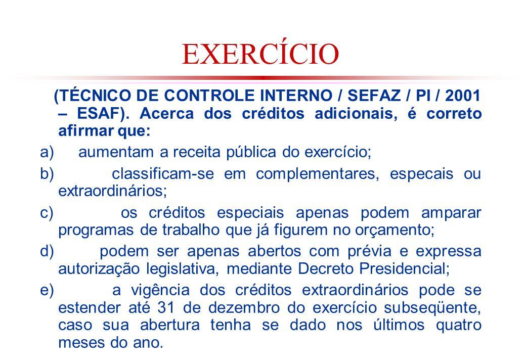 EXERCÍCIO (TÉCNICO DE CONTROLE INTERNO / SEFAZ / PI / 2001 – ESAF). Acerca dos créditos adicionais, é correto afirmar que: