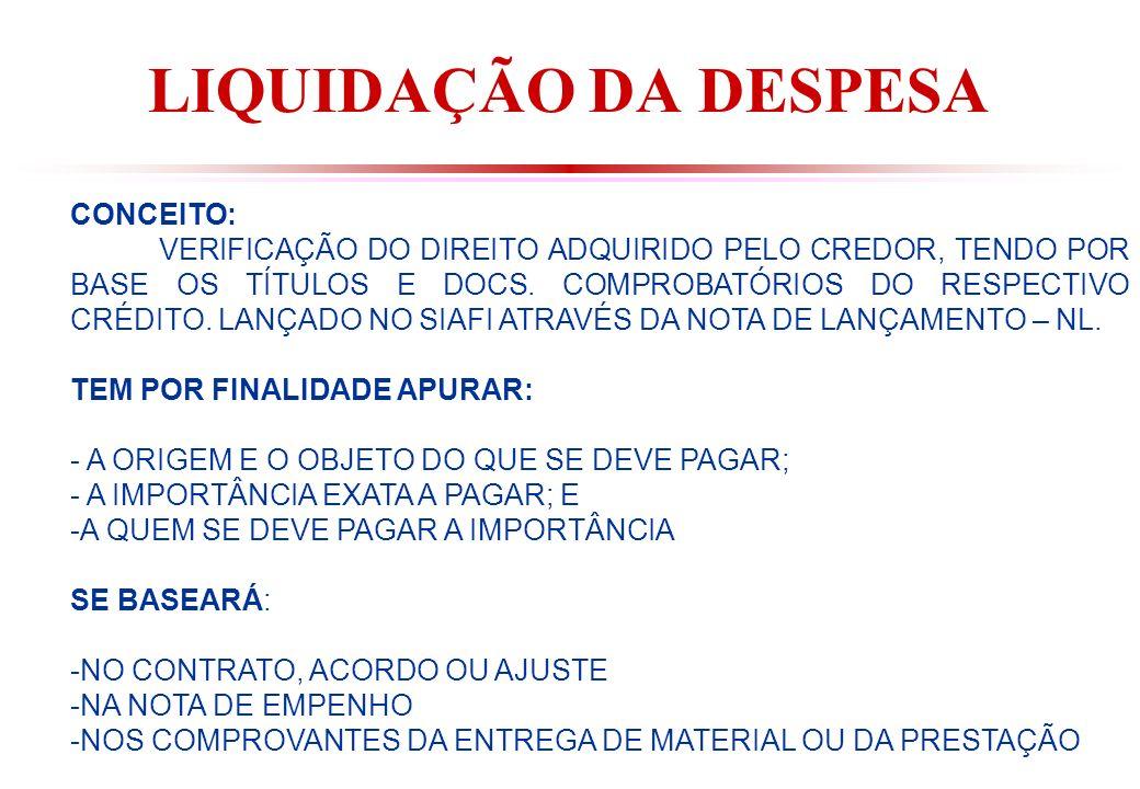LIQUIDAÇÃO DA DESPESA CONCEITO: