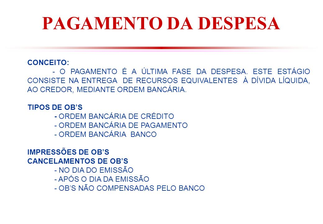 PAGAMENTO DA DESPESA CONCEITO: