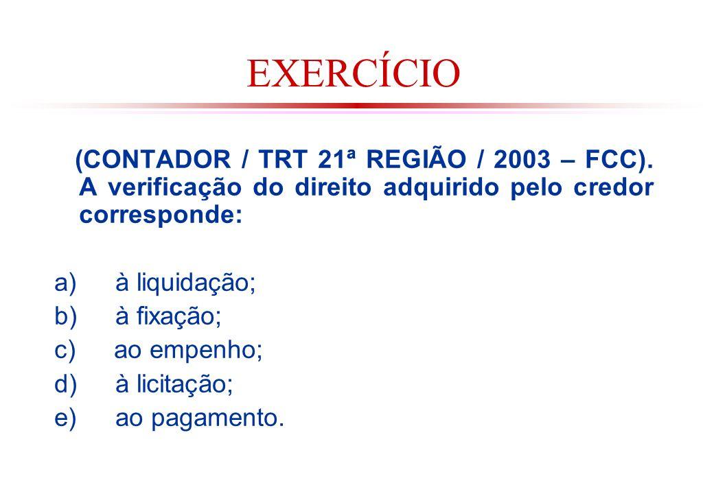 EXERCÍCIO (CONTADOR / TRT 21ª REGIÃO / 2003 – FCC). A verificação do direito adquirido pelo credor corresponde: