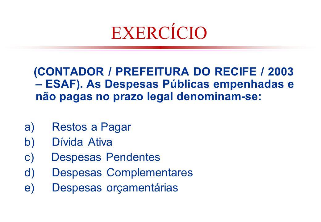 EXERCÍCIO (CONTADOR / PREFEITURA DO RECIFE / 2003 – ESAF). As Despesas Públicas empenhadas e não pagas no prazo legal denominam-se: