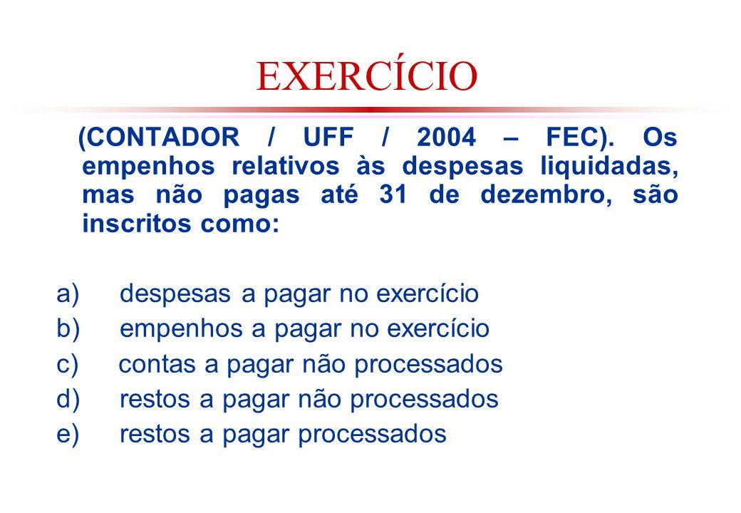 EXERCÍCIO (CONTADOR / UFF / 2004 – FEC). Os empenhos relativos às despesas liquidadas, mas não pagas até 31 de dezembro, são inscritos como: