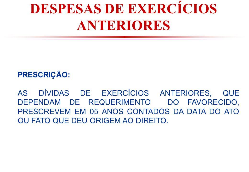 DESPESAS DE EXERCÍCIOS ANTERIORES