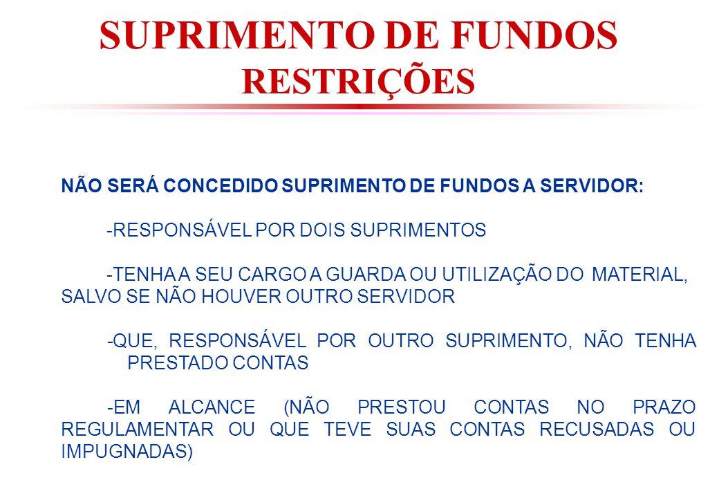 SUPRIMENTO DE FUNDOS RESTRIÇÕES