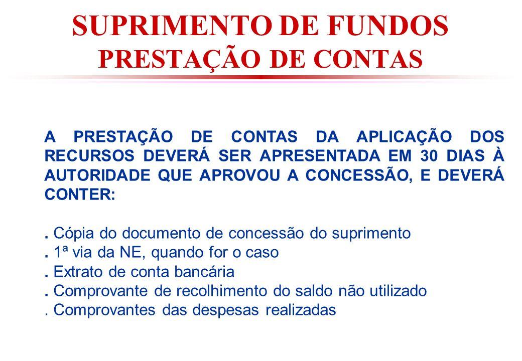 SUPRIMENTO DE FUNDOS PRESTAÇÃO DE CONTAS