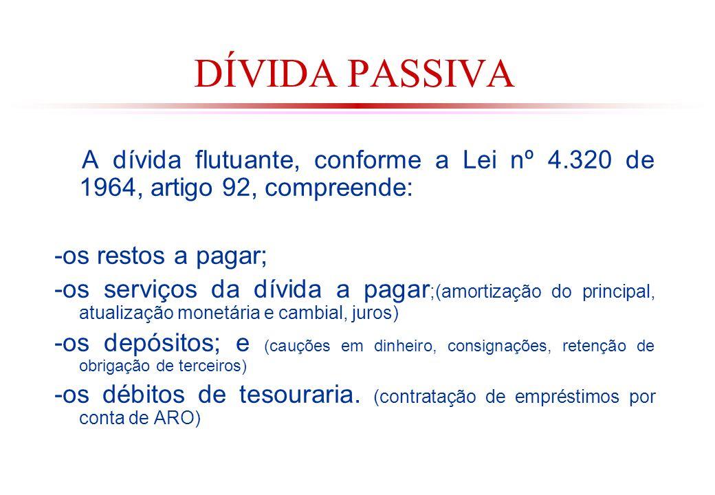 DÍVIDA PASSIVA A dívida flutuante, conforme a Lei nº 4.320 de 1964, artigo 92, compreende: -os restos a pagar;