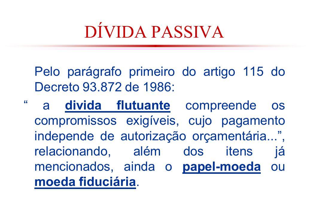 DÍVIDA PASSIVA Pelo parágrafo primeiro do artigo 115 do Decreto 93.872 de 1986: