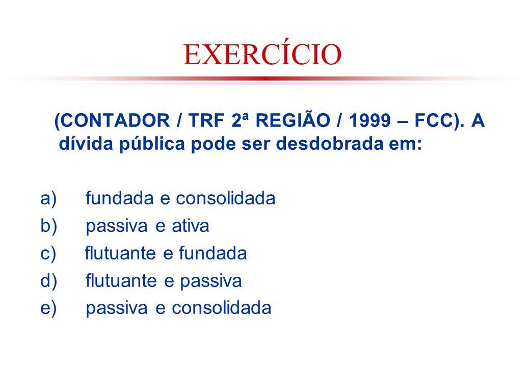 EXERCÍCIO (CONTADOR / TRF 2ª REGIÃO / 1999 – FCC). A dívida pública pode ser desdobrada em: a) fundada e consolidada.