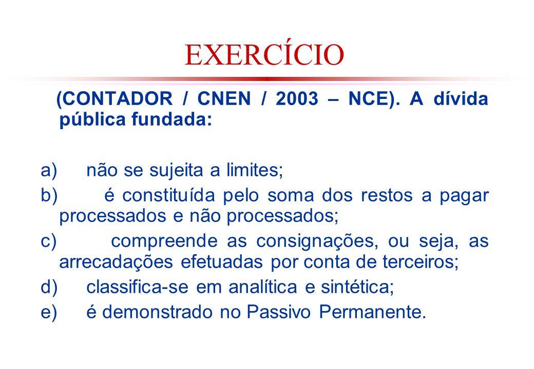 EXERCÍCIO (CONTADOR / CNEN / 2003 – NCE). A dívida pública fundada: