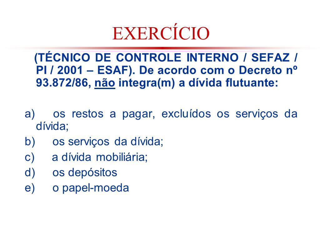 EXERCÍCIO (TÉCNICO DE CONTROLE INTERNO / SEFAZ / PI / 2001 – ESAF). De acordo com o Decreto nº 93.872/86, não integra(m) a dívida flutuante: