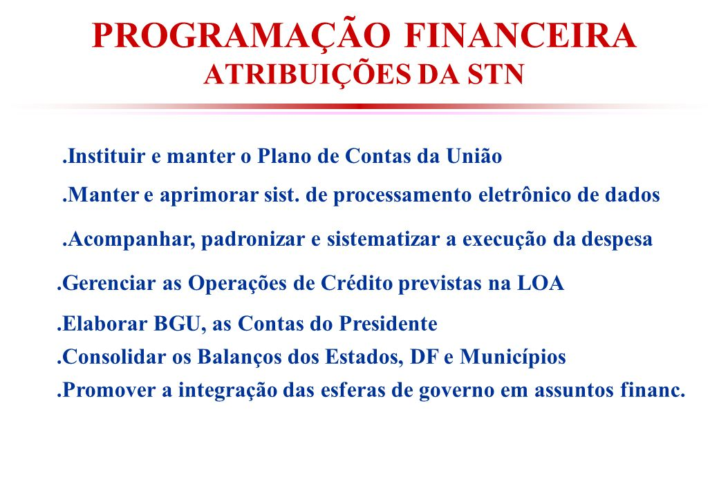 PROGRAMAÇÃO FINANCEIRA ATRIBUIÇÕES DA STN