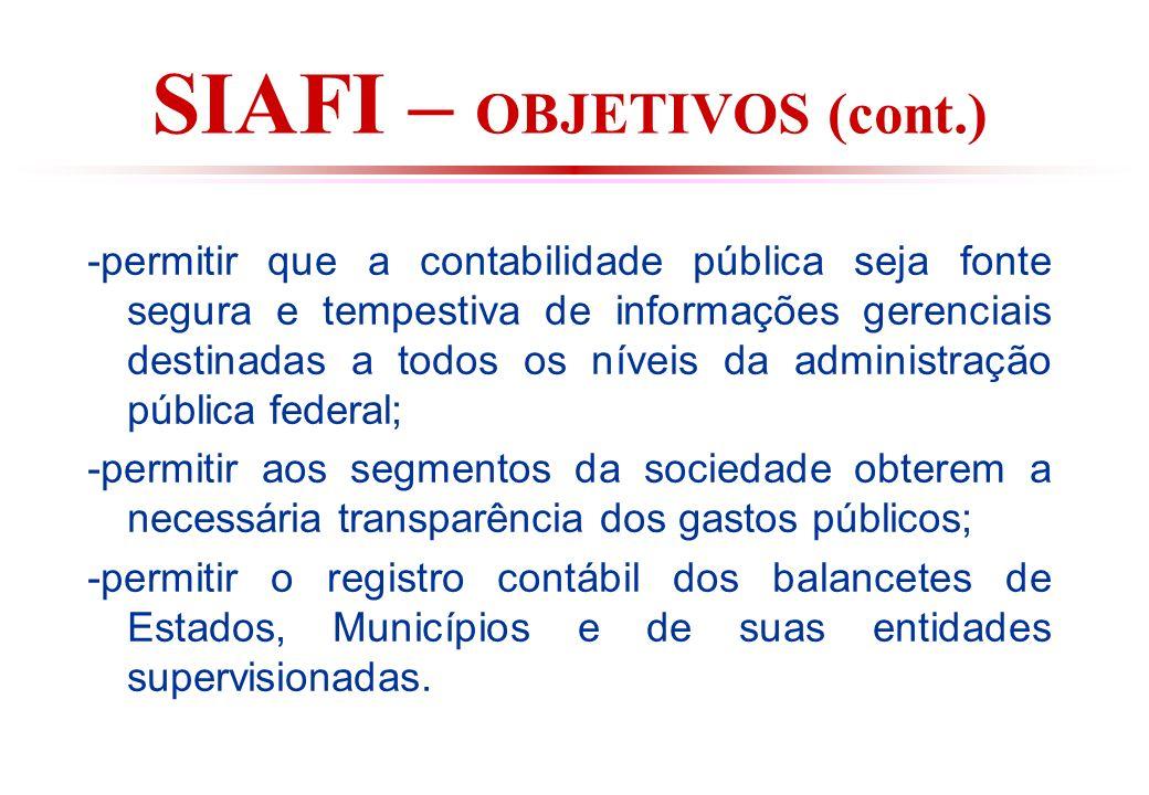 SIAFI – OBJETIVOS (cont.)