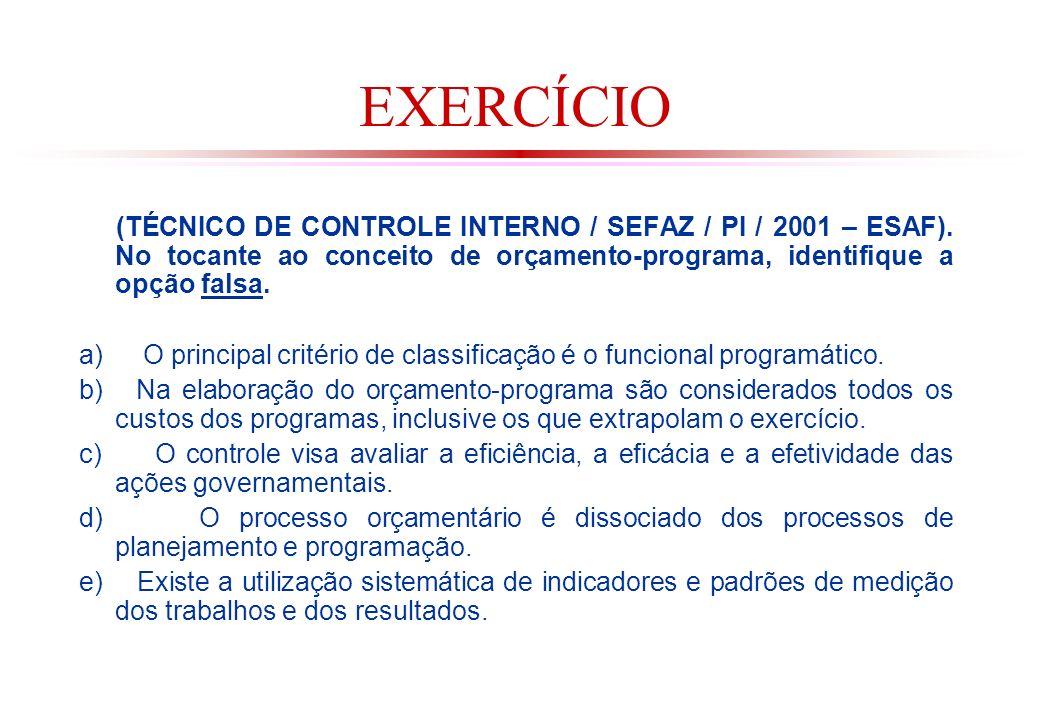 EXERCÍCIO (TÉCNICO DE CONTROLE INTERNO / SEFAZ / PI / 2001 – ESAF). No tocante ao conceito de orçamento-programa, identifique a opção falsa.
