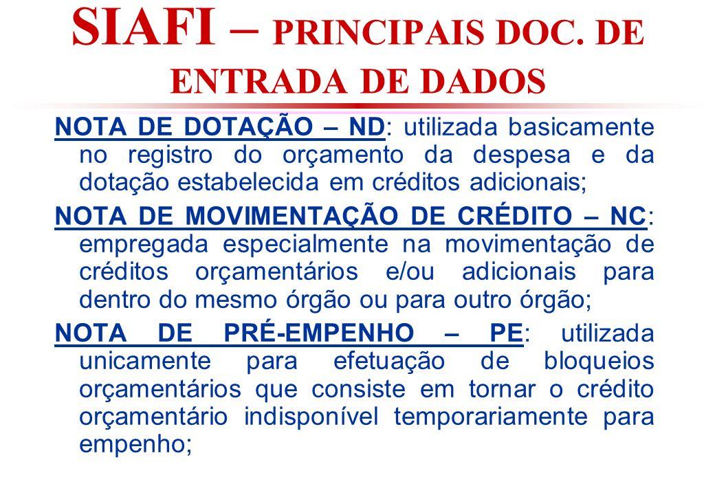 SIAFI – PRINCIPAIS DOC. DE ENTRADA DE DADOS