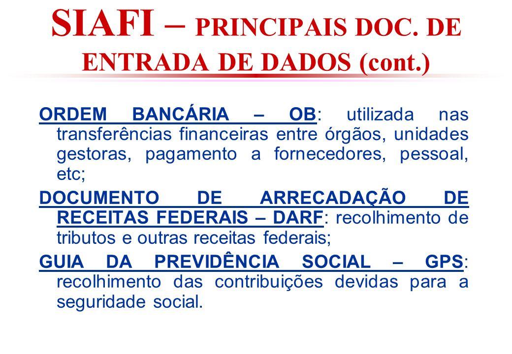 SIAFI – PRINCIPAIS DOC. DE ENTRADA DE DADOS (cont.)