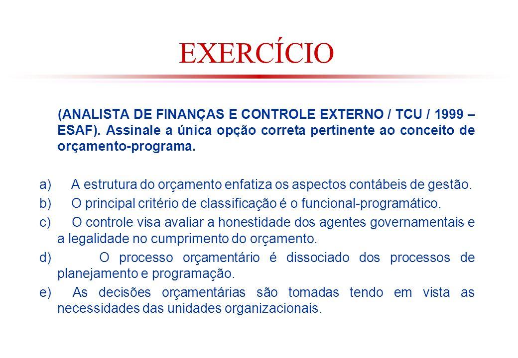 EXERCÍCIO (ANALISTA DE FINANÇAS E CONTROLE EXTERNO / TCU / 1999 – ESAF). Assinale a única opção correta pertinente ao conceito de orçamento-programa.