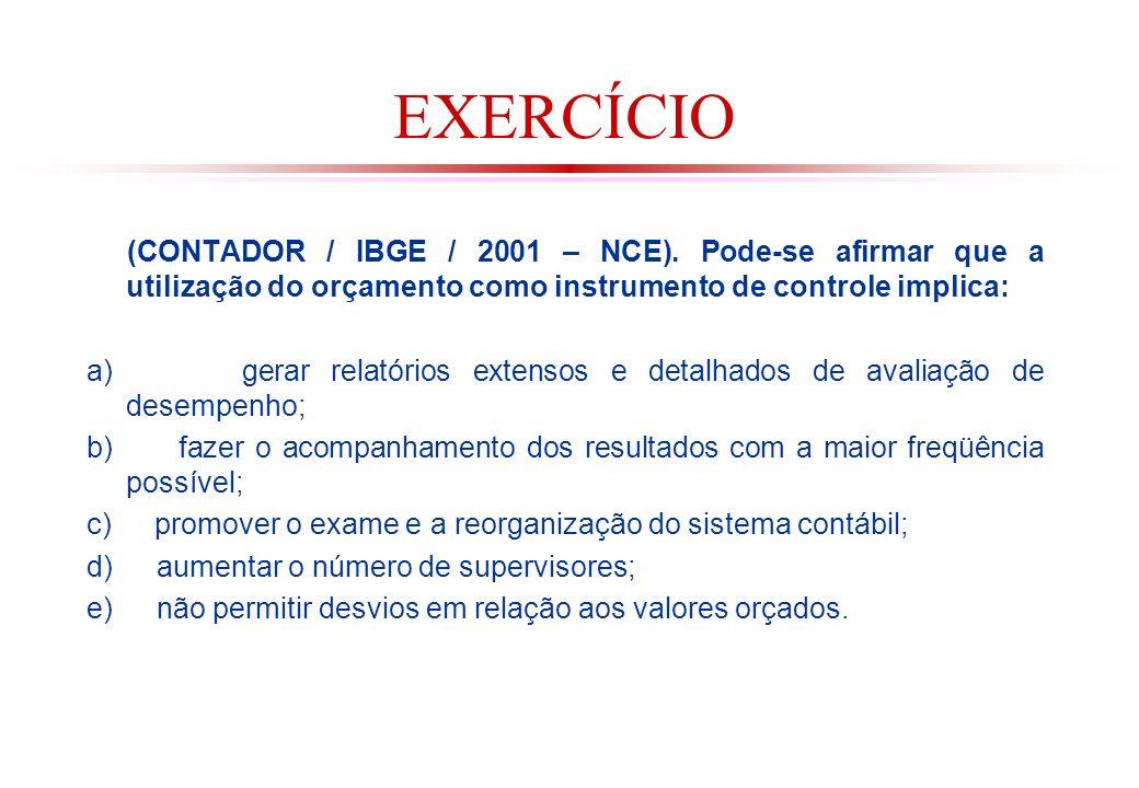 EXERCÍCIO (CONTADOR / IBGE / 2001 – NCE). Pode-se afirmar que a utilização do orçamento como instrumento de controle implica: