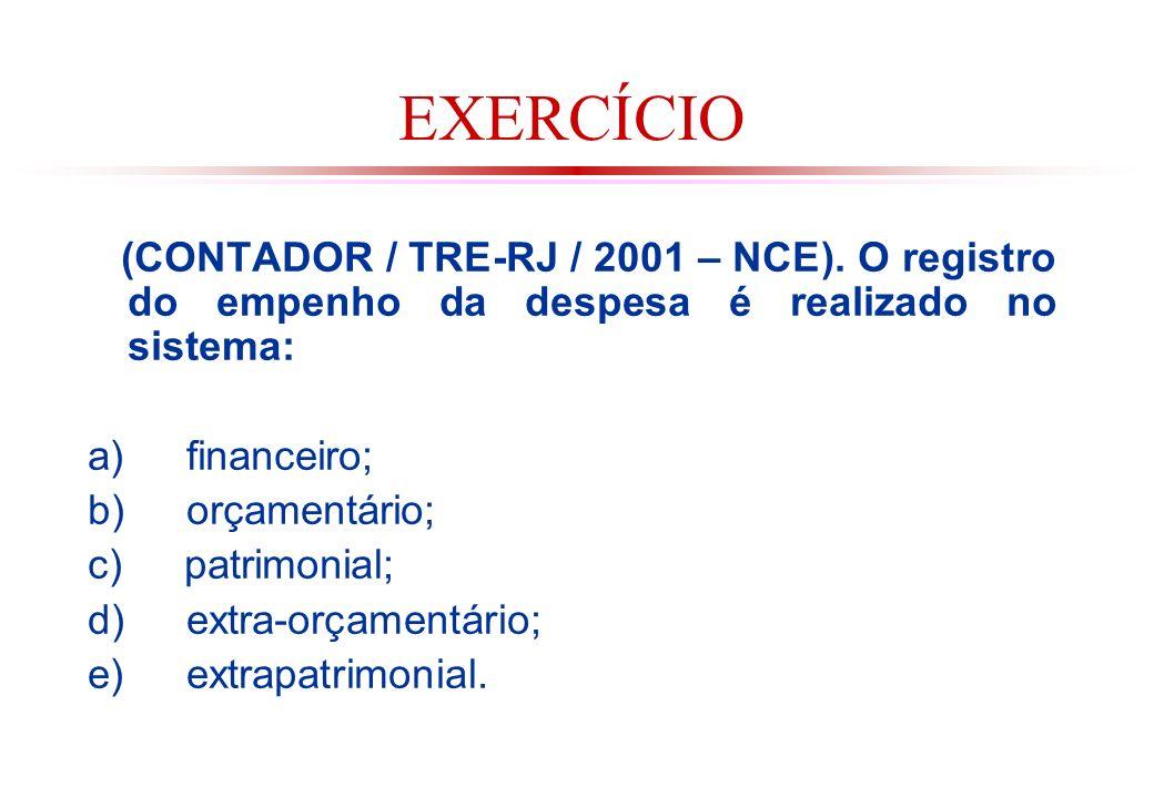 EXERCÍCIO (CONTADOR / TRE-RJ / 2001 – NCE). O registro do empenho da despesa é realizado no sistema: