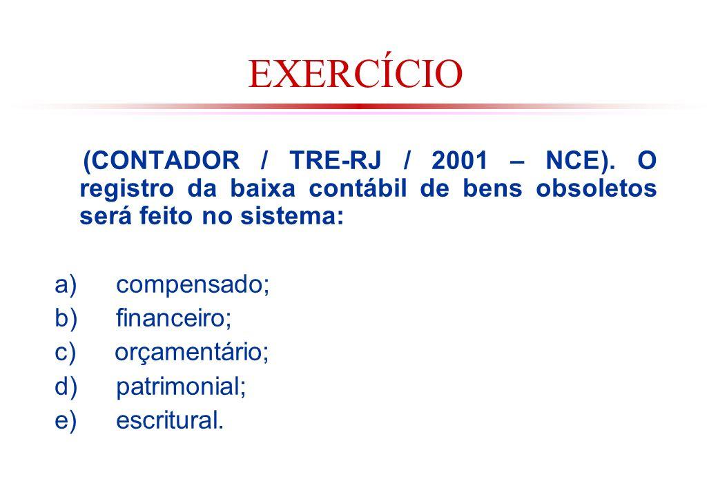 EXERCÍCIO (CONTADOR / TRE-RJ / 2001 – NCE). O registro da baixa contábil de bens obsoletos será feito no sistema: