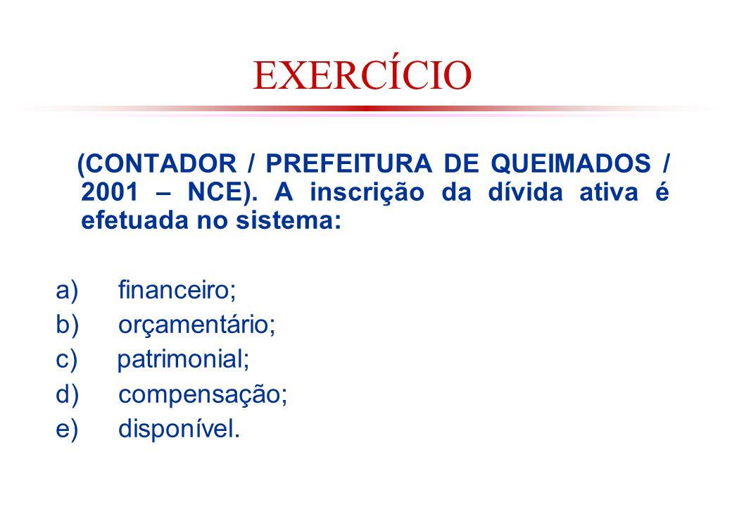 EXERCÍCIO (CONTADOR / PREFEITURA DE QUEIMADOS / 2001 – NCE). A inscrição da dívida ativa é efetuada no sistema: