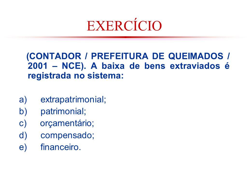 EXERCÍCIO (CONTADOR / PREFEITURA DE QUEIMADOS / 2001 – NCE). A baixa de bens extraviados é registrada no sistema: