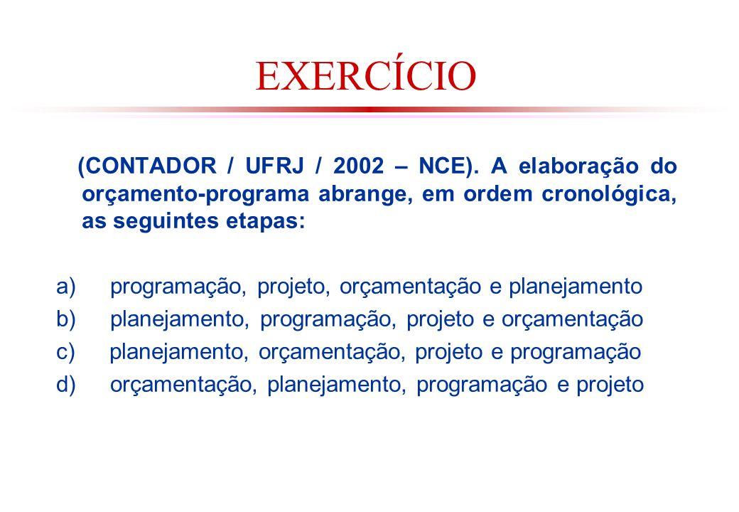 EXERCÍCIO (CONTADOR / UFRJ / 2002 – NCE). A elaboração do orçamento-programa abrange, em ordem cronológica, as seguintes etapas: