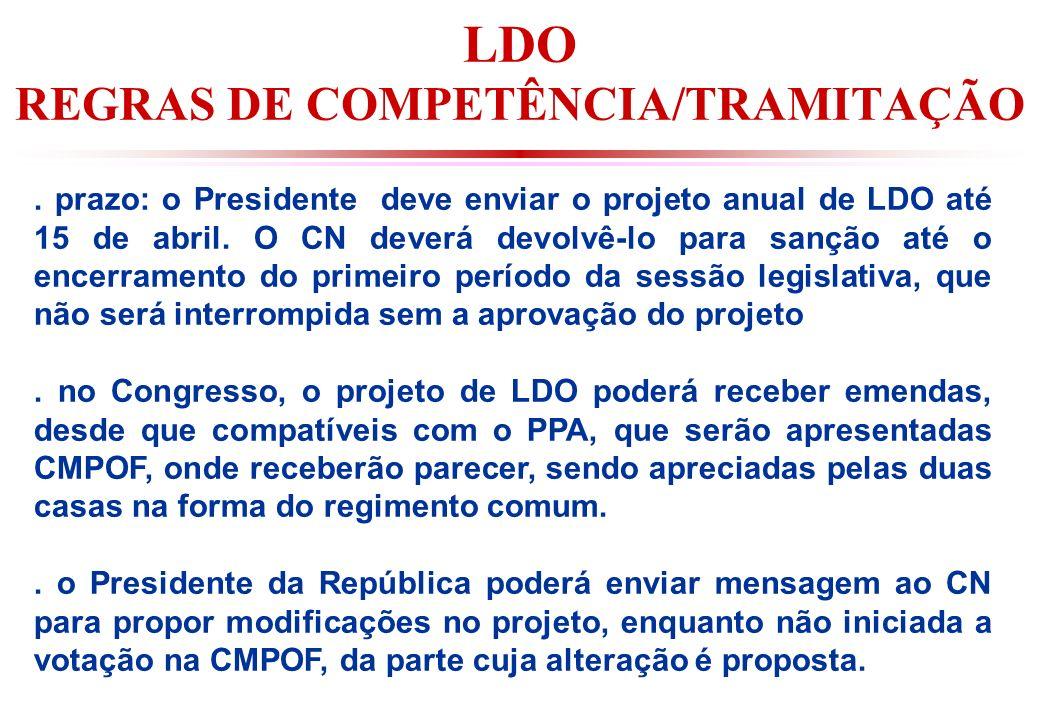 LDO REGRAS DE COMPETÊNCIA/TRAMITAÇÃO