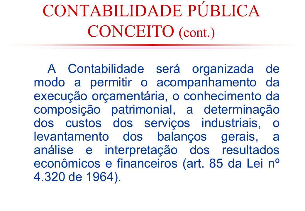 CONTABILIDADE PÚBLICA CONCEITO (cont.)