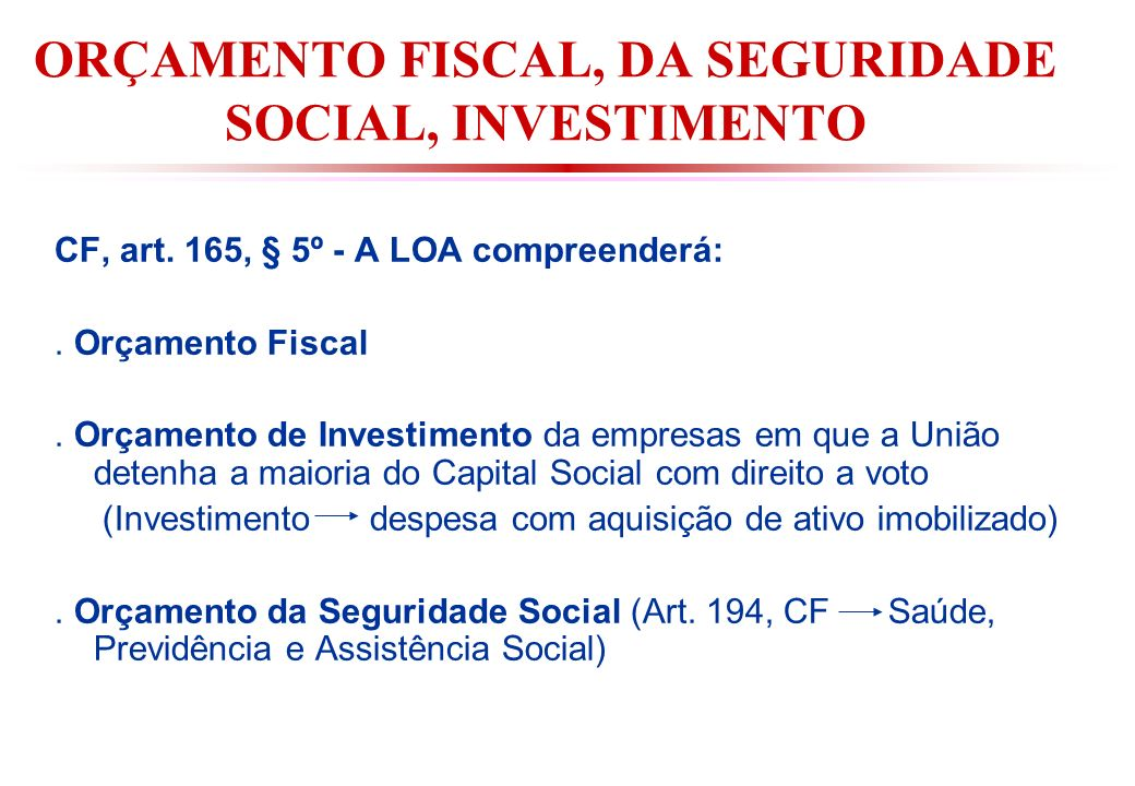 ORÇAMENTO FISCAL, DA SEGURIDADE SOCIAL, INVESTIMENTO