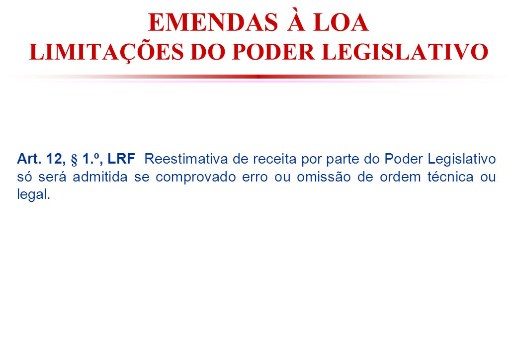 EMENDAS À LOA LIMITAÇÕES DO PODER LEGISLATIVO