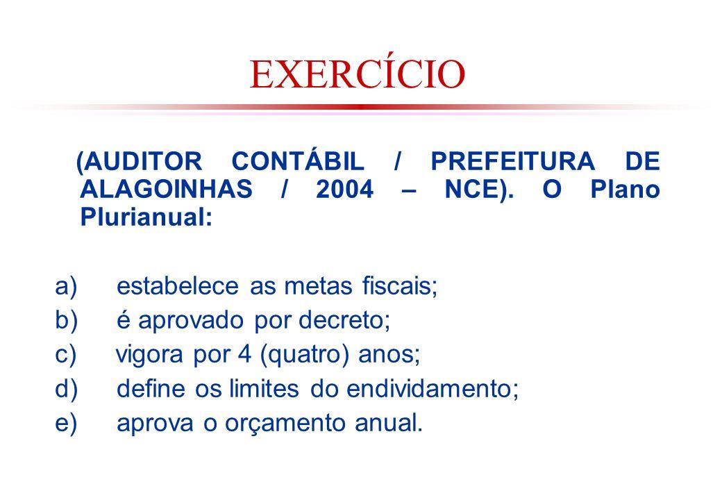 EXERCÍCIO (AUDITOR CONTÁBIL / PREFEITURA DE ALAGOINHAS / 2004 – NCE). O Plano Plurianual: a) estabelece as metas fiscais;