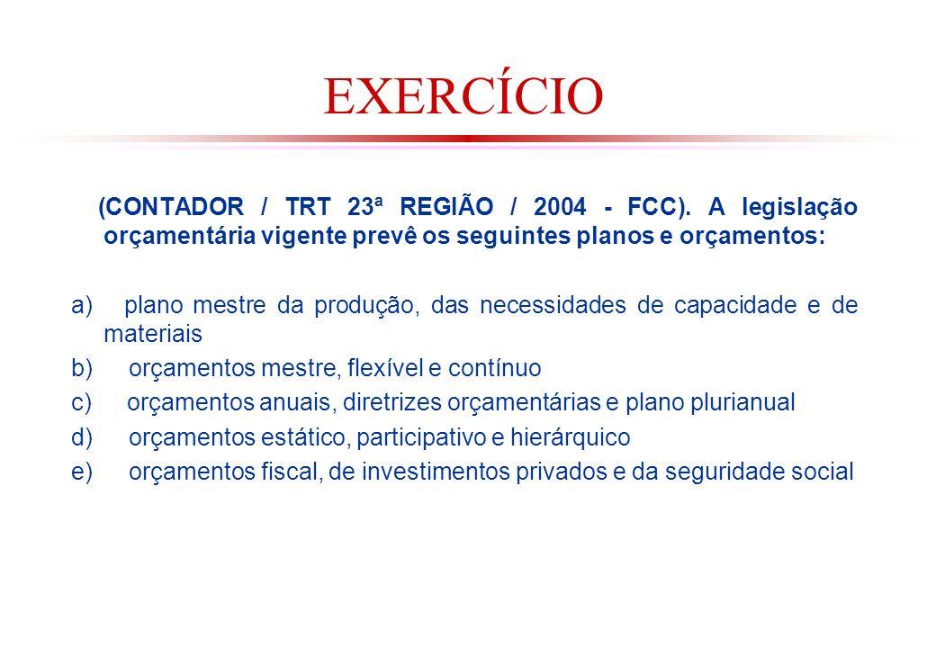 EXERCÍCIO (CONTADOR / TRT 23ª REGIÃO / 2004 - FCC). A legislação orçamentária vigente prevê os seguintes planos e orçamentos: