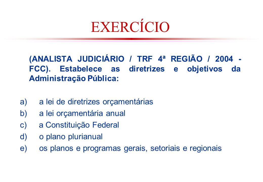 EXERCÍCIO (ANALISTA JUDICIÁRIO / TRF 4ª REGIÃO / 2004 - FCC). Estabelece as diretrizes e objetivos da Administração Pública: