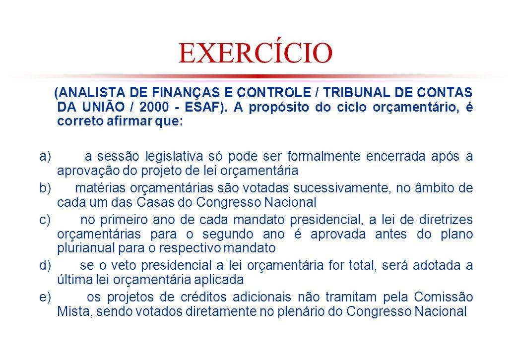 EXERCÍCIO (ANALISTA DE FINANÇAS E CONTROLE / TRIBUNAL DE CONTAS DA UNIÃO / 2000 - ESAF). A propósito do ciclo orçamentário, é correto afirmar que: