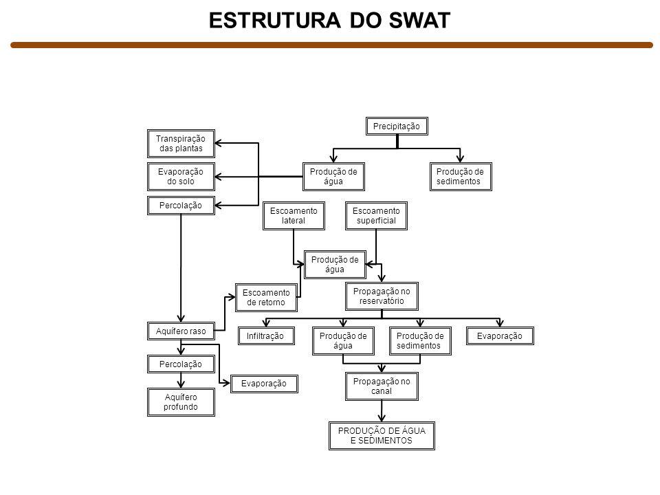 ESTRUTURA DO SWAT Precipitação Transpiração das plantas